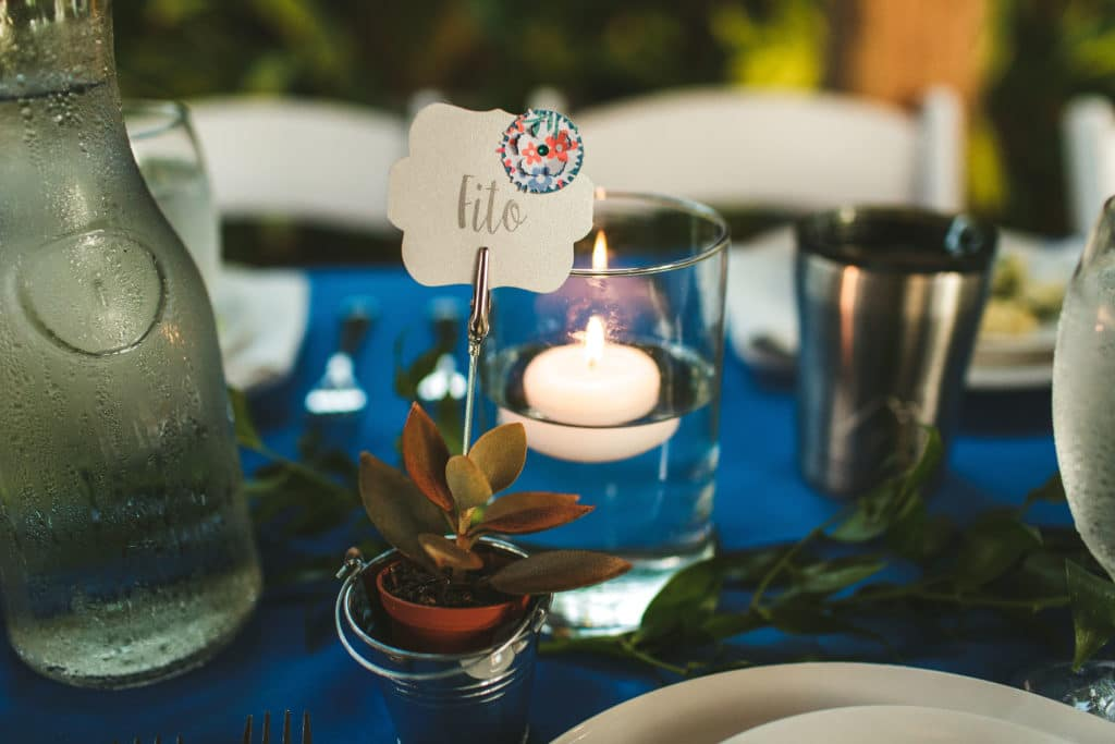 Succulent wedding favors used as place cards at a wedding.