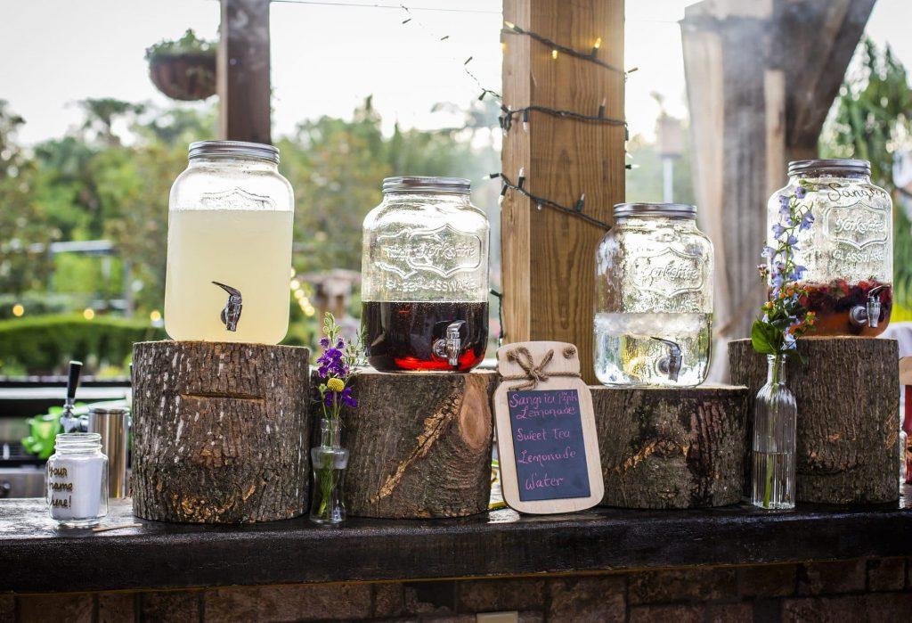 Wedding beverage station at the bar