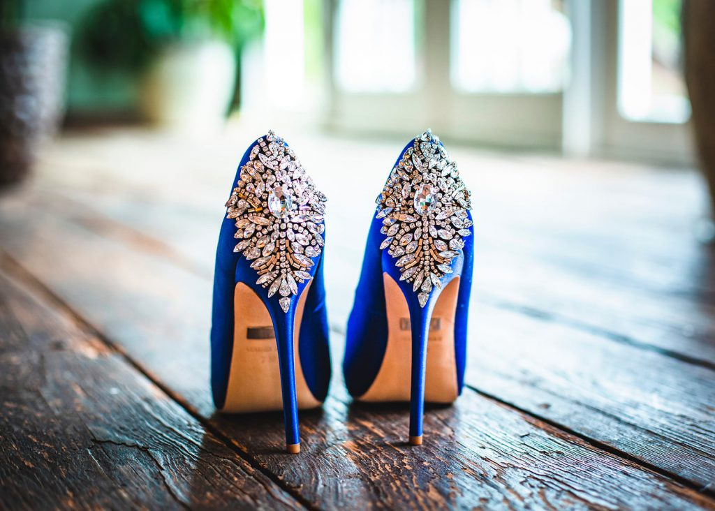 blue jeweled stiletto bridal shoes