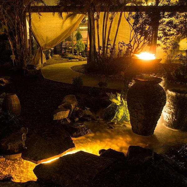 urns and stream at night